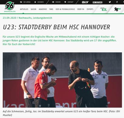 - 23.09.2020 - U23: Stadtderby beim HSC Hannover