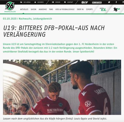 - 03.10.2020 - U19: Bitteres DFB-Pokal-Aus nach Verlängerung