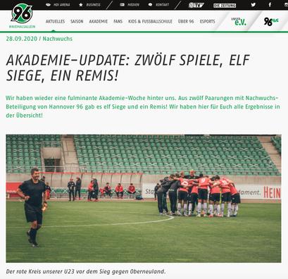 - 28.09.2020 - Akademie-Update: Zwölf Spiele, Elf Siege, ein Remis!