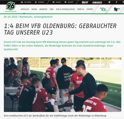 - 04.10.2020 - 1:4 beim VfB Oldenburg: Gebrauchter tag unserer U23