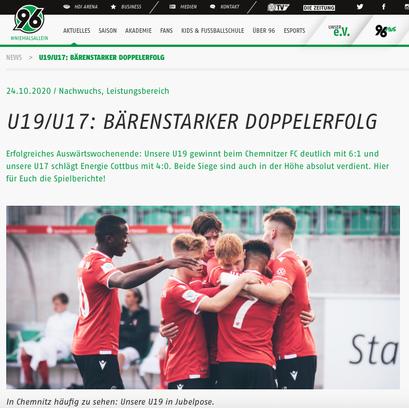 - 24.10.2020 - U19/U17: Bärenstarker Doppelerfolg
