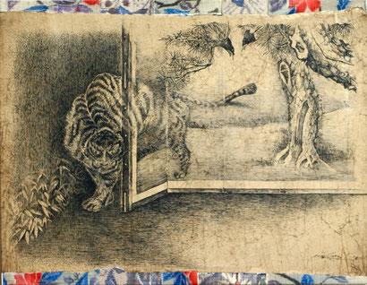 「屏風の虎」 F6 ペン画