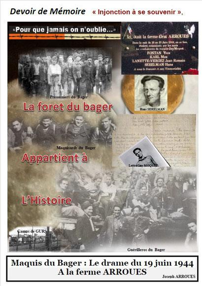 Une partie de l'histoire vécue au Bager d'Oloron, écrit par un témoin local, Joseph ARROUES