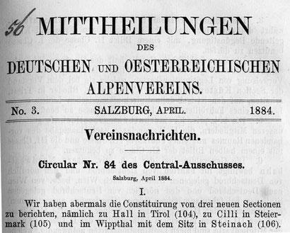 Gründungsmitteilung 1884