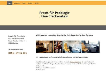 Website Praxis für Podologie Irina Fleckenstein Cottbus