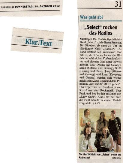 (Rieser Nachrichten, 18.10.2012)