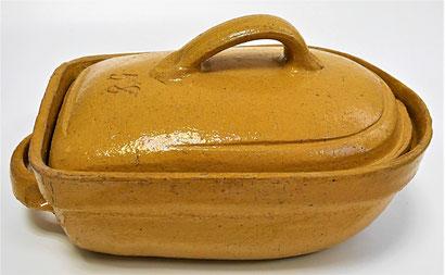 alte Kohrener Keramik Kohren-Sahlis Bleiglasur Bräter