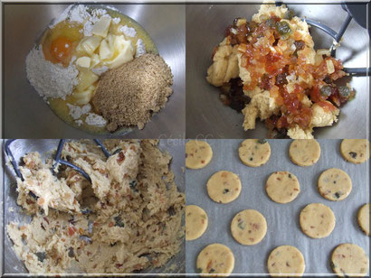 etapes recette biscuit fruits confits