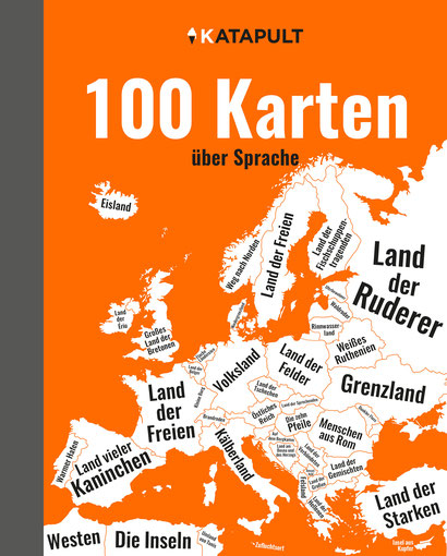 Das Bild zeigt das Cover von 100 Karten von Katapult mit einer Landkarte.