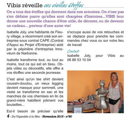 vibis article dans journal Fleury d'Aude