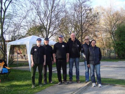 Alfeld 2 Bezirksoberligateam: Rüdiger Paulmann, Bruno Allkemper, Peter Meyer, Klaus Hanßen, Peter Kölpin und Elina Schomburg