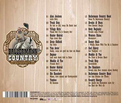 Tracklisting der BALLERMANN COUNTRY 2019 mit Alan Jackson, TRUCK STOP, Ballermann Ranch Country Band, Brooks & Dunn, Gunter Gabriel, Maddie & Tae, Tom Astor, Carl Emroy u.v.a.
