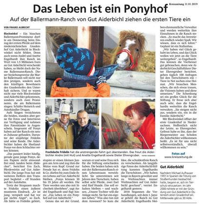 Kreiszeitung Sulingen über die BALLERMANN RANCH  von GUT AIDERBICHL