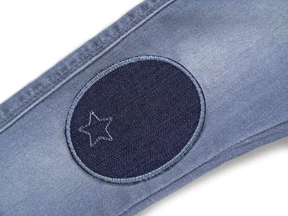 Bild: Knieflicken Jeansflicken dunkelgrau mit Stern, Aufnäher Hosenflicken zum aufbügeln