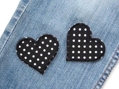 Bild: Herz Flicken Hosenflicken schwarz, Applikation zum aufbügeln Bügelflicken Mädchen