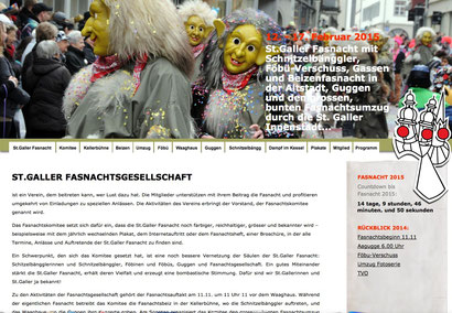 Homepage der St.Galler Fasnachtsgesellschaft, Januar 2015