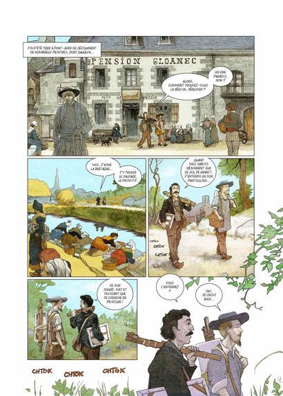 """""""Sous la dictée"""" Page 1, Dessinateur : Vincent Dutreuil"""