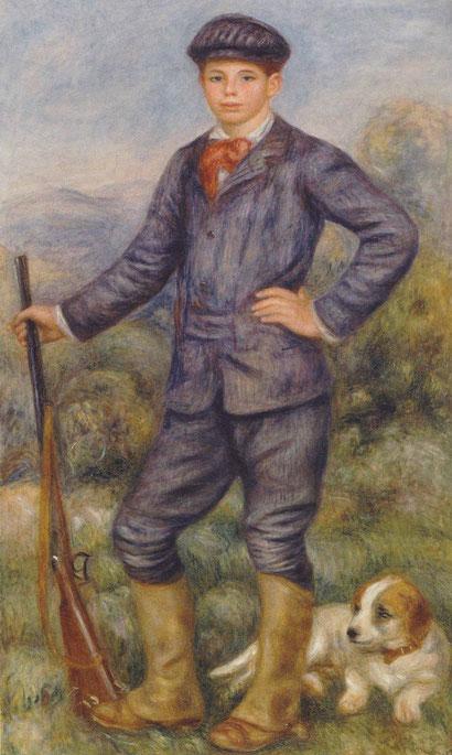 Jean Renoir como cazador,1910. Este fue el retrato más querido por Jean que su padre le había pintado con 15 años y con Bob como perro de caza, parecido al del Príncipe Baltasar Carlos de Velázquez.