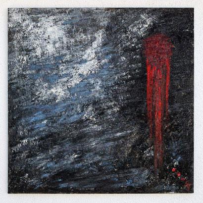 Charo Artadi. CORAZÓN HERIDO.Todo un impacto visual utilizando tres colores.El dolor y la pureza de la luz gravitando en una órbita, como las almas de la creación.