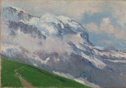 Aureliano Beruete.Grindelwald.1906. Pintado en los Alpes Suizos realizaba estudios al natural cerca de las cumbres. Nieves perpétuas teñidas de rosa,azul y malva.Rasgo impresionista ya,pinceladas independientes y visibles,toques empastados velazqueños