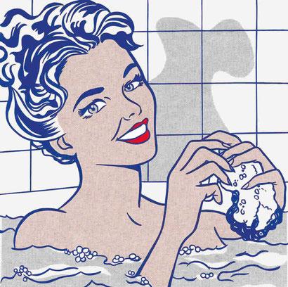 Roy Lichtenstein,Mujer en el baño 1963.Óleo y magna sobre lienzo 173x173cm. Museo Thyssen Madrid.Con la intención de reflexionar sobre la banalidad de las apariencias que vendía la publicidad...