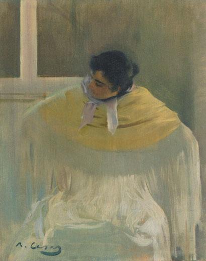 R.Casas.1897.Muy interesado por las chulas, este mantón amarillo sobre blanco con una resolución muy fluida.Difumina su expresión girando la cabeza como si se tratara de una instantánea.