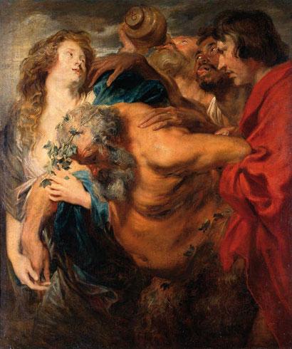Van Dyck.1617-18.Sileno ebrio.107X90cm.Dresde. Asunto mitológico de Sileno embriagado,desorientado y encontrado por campesinos frigios. Tema recurrente de Rubens. Musculatura en tensión.Existe otra versión.