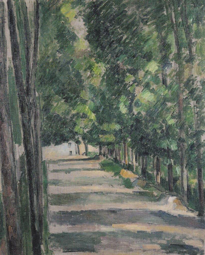 Paul Cézanne,el paseo,1880-82.çOleo sobre lienzo.73x60cm.Göteborgs Konstmuseum..Coordenadas verticales que acotan y parcelan el paisaje pero invita a buscar rincones íntimos...