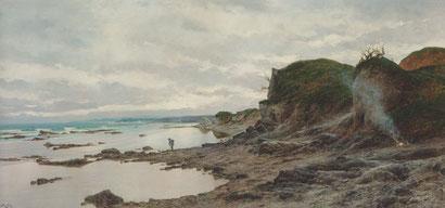 Juan Martínez Abades.Paisaje costero Gijón 1899. Formatos siempre apaisados para mejor captar los acantilados o escenas solitarias de mariscadores,disposición oblícua de las olas para dar mayor profundidad.