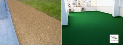 El corcho proyectado es un eficaz impermeabilizante (muy útil para el tratamiento de humedades en suelos, terrazas y piscinas) de bordillos y suelos .