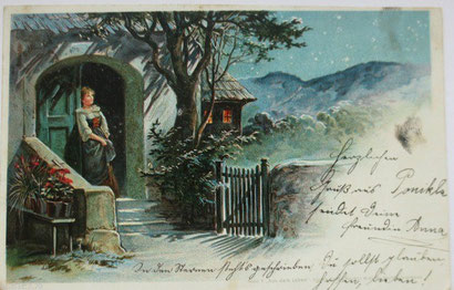 「女性、風景」1900年ポストカード
