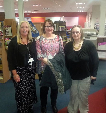 from left, Charles Thorp librarians Gill Hodgson and Beth Khalil, with me in the middle