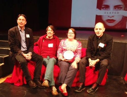 the authors on the red sofa: from left, Matt Dickinson (red socks & hat-that-made-brief-appearance), David Massey (lots of red!), me (red pattern top, with lucky red shoes), and Chris Priestley (red laces, red handkerchief)!