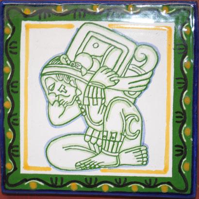 Azulejo Talvera de Puebla en Medida de 10.5 x 10.5 cm. aproximadamente.
