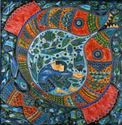 Jona im Fisch Öl auf Leinwand 80 x 80 cm