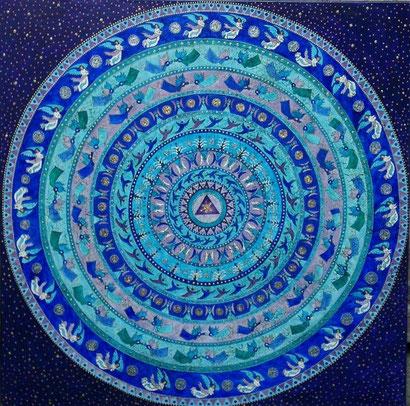 Engelmandala Aquarell auf Leinwand 100 x 100 cm