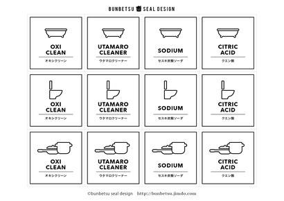 分別シール 無料素材  分別シールデザイン ゴミ箱シール ゴミシール オキシクリーン セスキ クエン酸 ウタマロ ラベル 詰め替えラベル