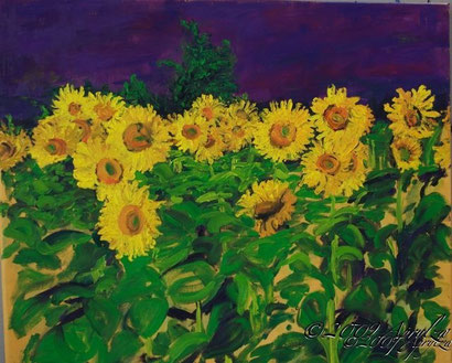 0011-le Champ des Tournesols, 55/46cm oil on canvas
