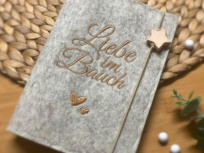 Mutterpasshülle Mutterpass Hülle Einband Umschlag Filz Name personalisiert Geschenk Babyparty Mutterpass Filz Foto Ultraschallbild