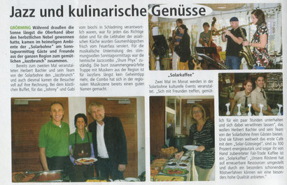 Jazzbrunch im Café Solarbohne - Artikel vom 07.11. in den Ennsseiten