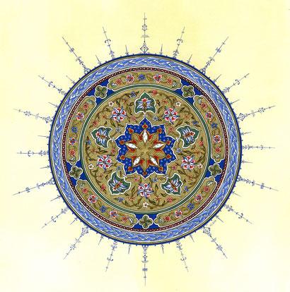 Foto © Anne-Elisabeth Seevers: Kreisförmiger Entwurf mit Rumi- und Hataymotiven