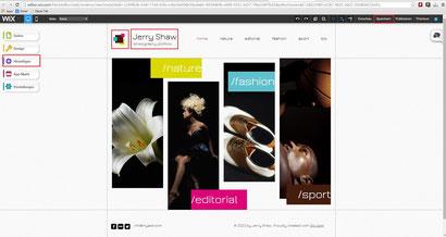Die bearbeitung der Webseite von Wix