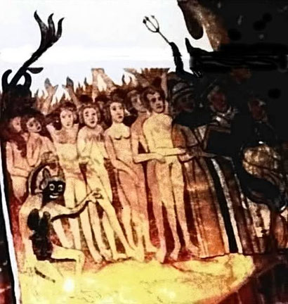 Kirchenbild in meiner Gemeinde mit Ähnlichkeit zur Rampe in Bergen Belsen. Hier geht es nicht ins Gas, hier geht es ins ewige Feuer.