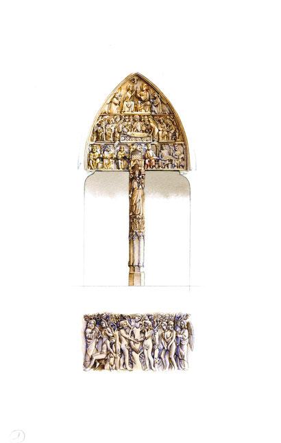 Portale della Vergine, e storia di Eva, (particolare tratto dal cilindro posto sotto i piedi della Vergine, nel pilastro centrale).