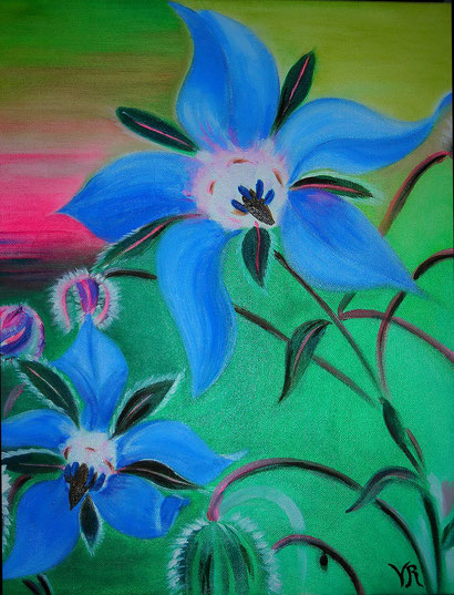 2010 Peinture à l'huile sur toile de coton 38/46 cm d'après photo