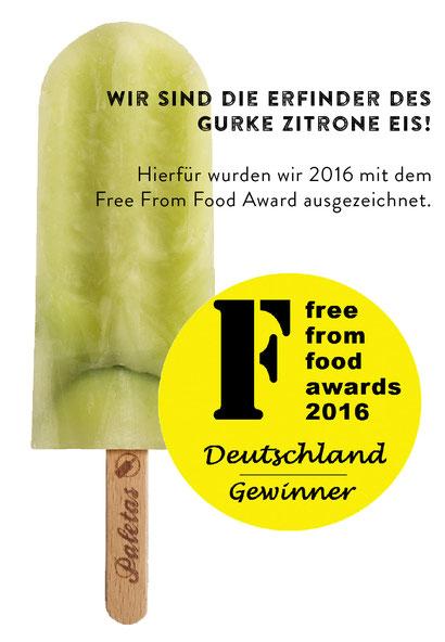 Wir sind die Erfinder des Gurke-Zitrone Eis! Hierfür wurden wir 2016 mit dem Free From Food Award ausgezeichnet.