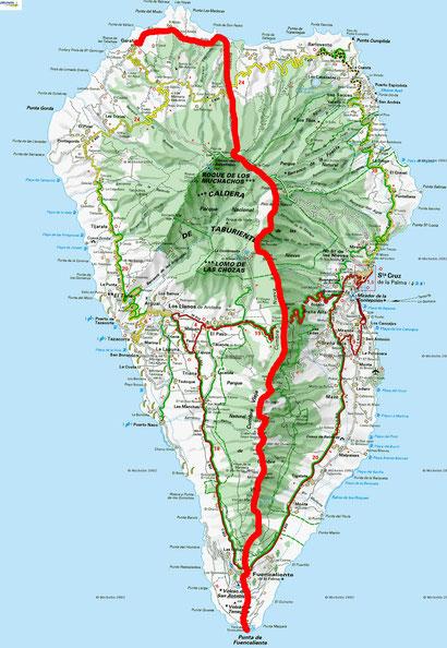 Unser Plan der Inseldurchquerung (Norden -> Süden)