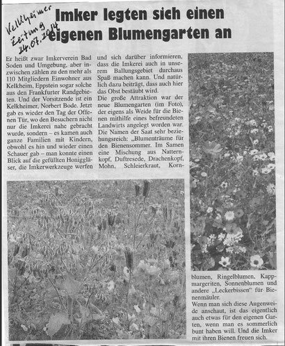 Bericht im Kelkheimer Blättchen am 24.7.14