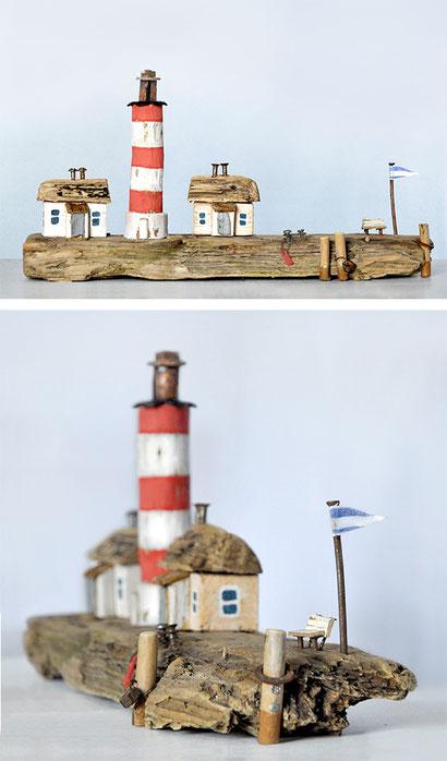 Christine Grandt - Treibholzkunst, maritime Geschenkidee zur Hochzeit Jubiläum, Geburtstagsgeschenk, Häuschen, Leuchtturm, Schwemmholz, Miniatur, Skulptur, Westerhever