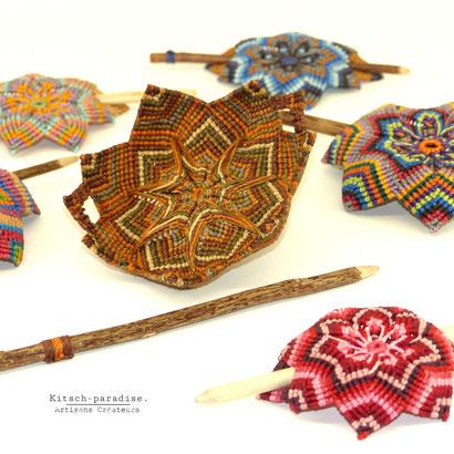 Kitsch-paradise artisans créateurs, Barrette mandala macramé tissage micromacramé psychédélisque